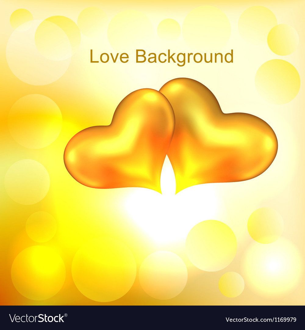 Background with two gold hearts vector | Price: 1 Credit (USD $1)