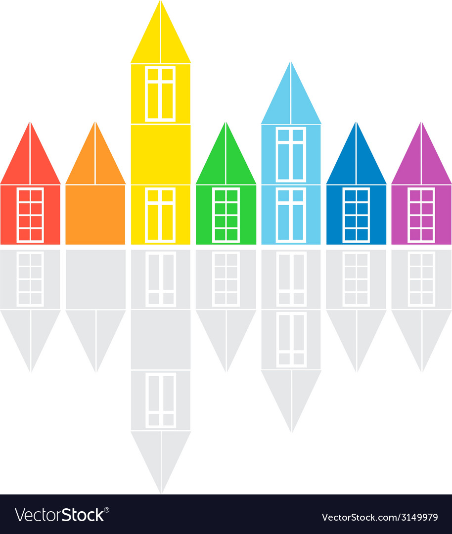 Colored houses vector | Price: 1 Credit (USD $1)