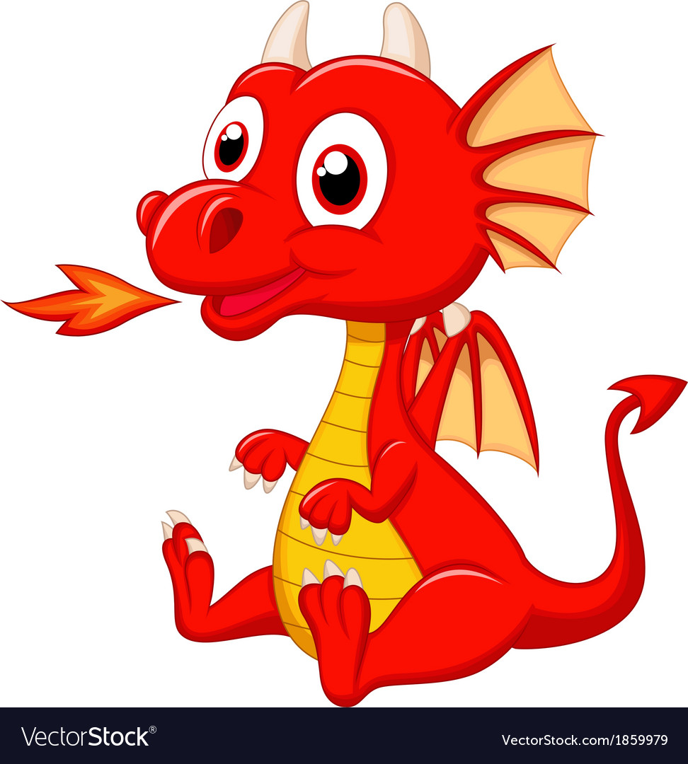 Cute baby dragon cartoon vector | Price: 1 Credit (USD $1)