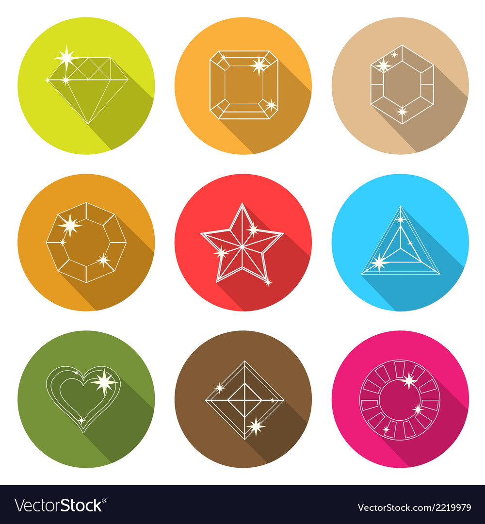 Gem stone cutting flat icons with long shadow vector   Price: 1 Credit (USD $1)