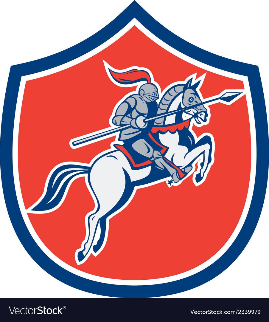 Knight riding horse lance shield cartoon vector | Price: 1 Credit (USD $1)