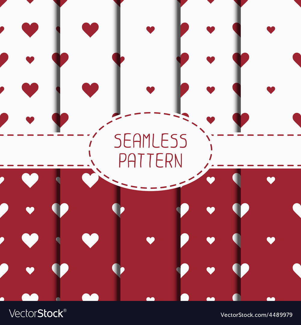 Set of red romantic geometric seamless pattern vector | Price: 1 Credit (USD $1)