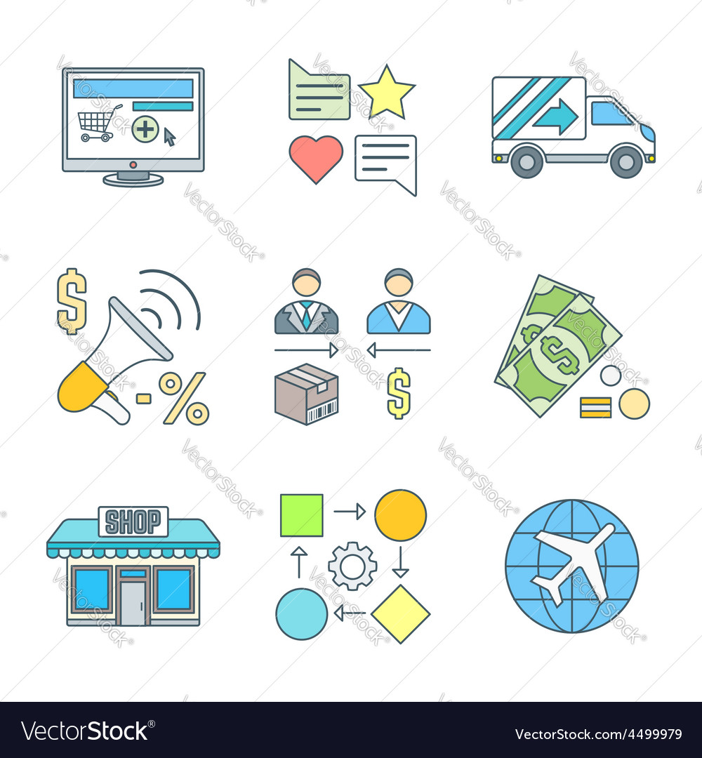 Various colored outline business distribution vector | Price: 1 Credit (USD $1)