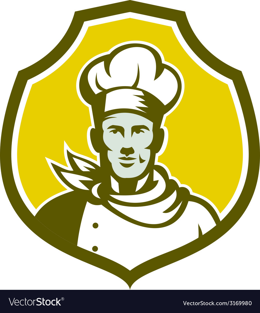Baker chef cook bust front shield retro vector | Price: 1 Credit (USD $1)