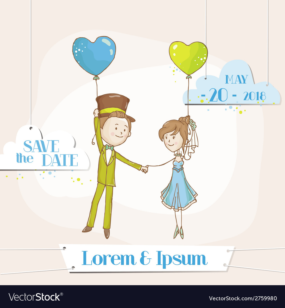Bride and groom - save the date wedding card vector | Price: 3 Credit (USD $3)