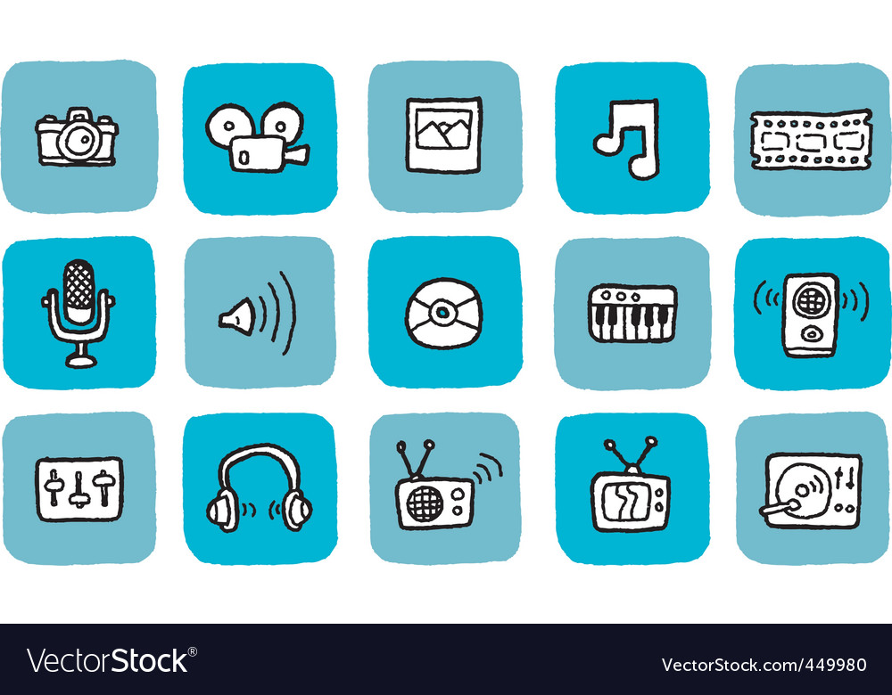 Doodle icon set  media vector | Price: 1 Credit (USD $1)