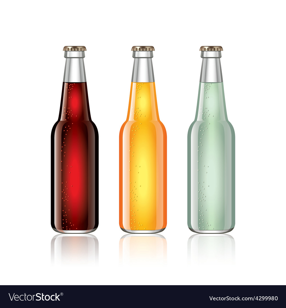 Glass soda bottles isolated on white vector | Price: 3 Credit (USD $3)