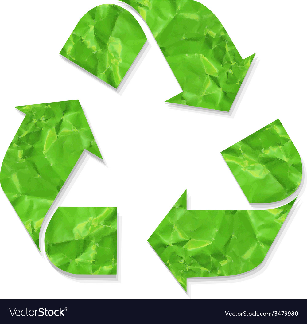Green crushed paper recycle sign vector | Price: 1 Credit (USD $1)