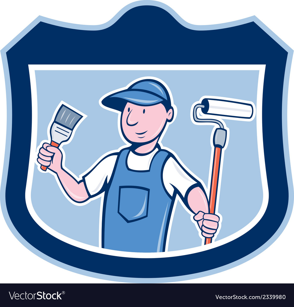 House painter holding paintbrush roller cartoon vector | Price: 1 Credit (USD $1)