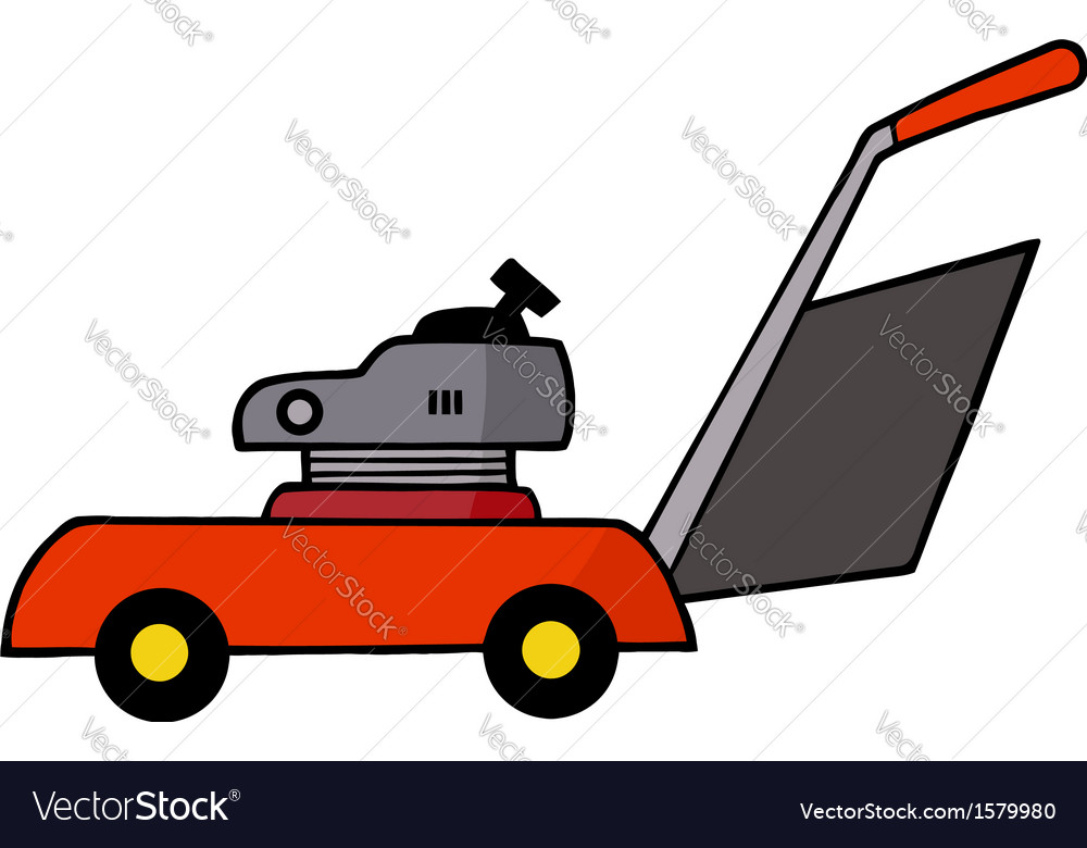 Lawn mower cartoon vector | Price: 1 Credit (USD $1)