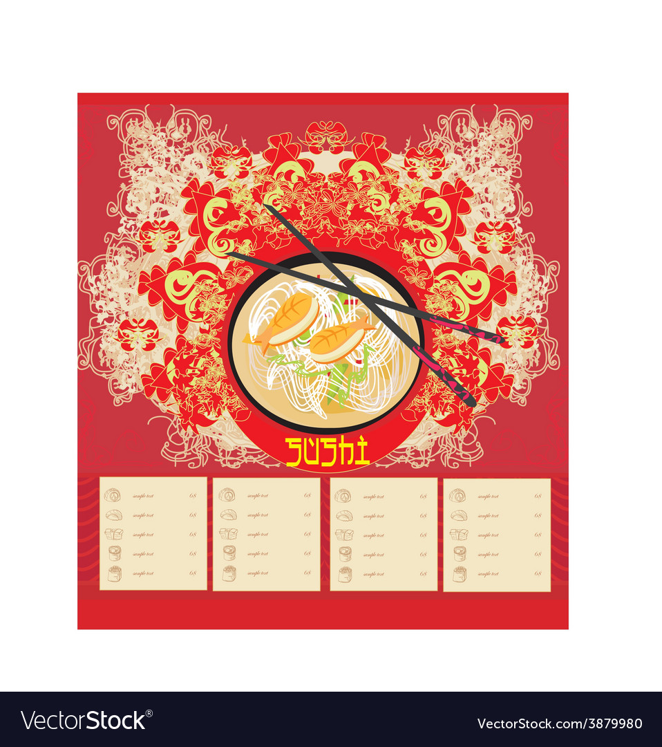 Menu for sushi - template design vector | Price: 1 Credit (USD $1)