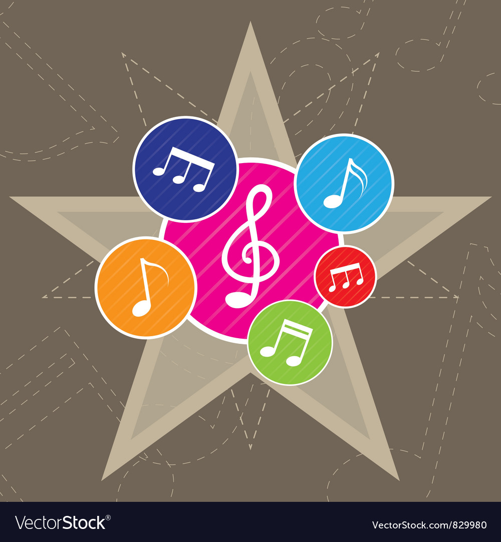 Music on star background vector | Price: 1 Credit (USD $1)