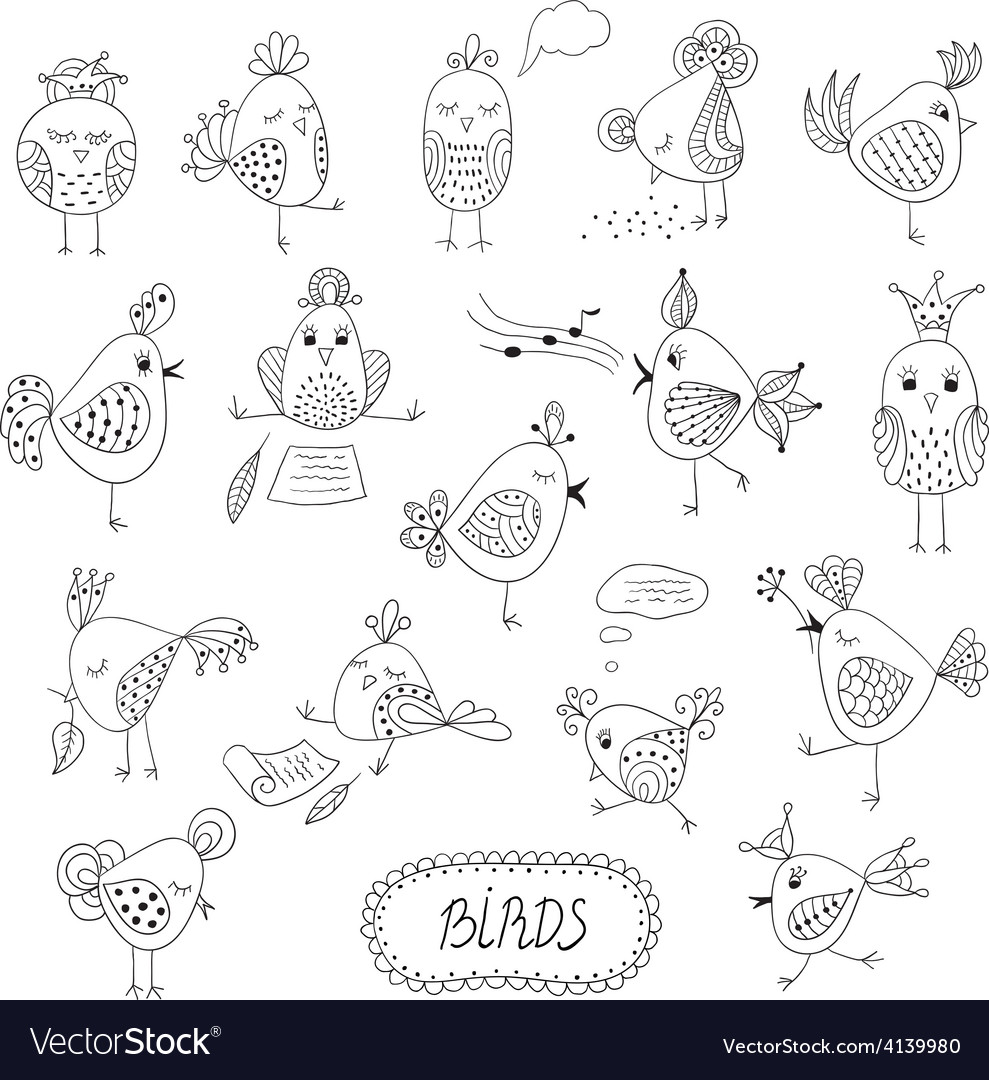 Set of cute birds in different actions vector | Price: 1 Credit (USD $1)