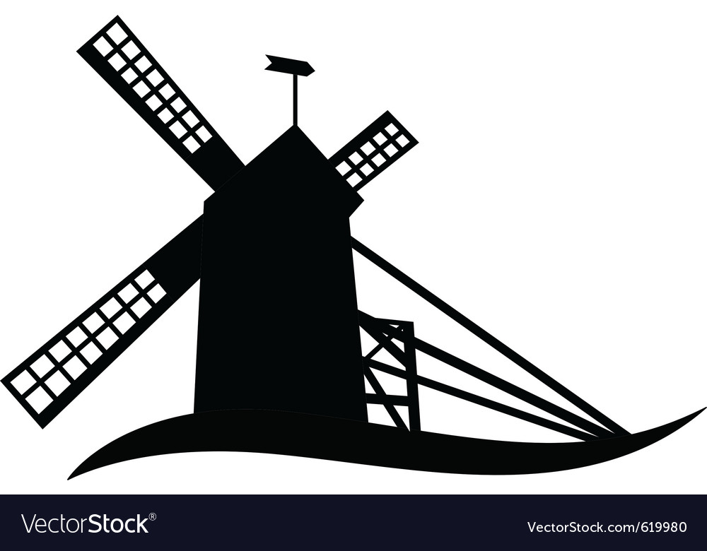 Silhouette of windmill vector | Price: 1 Credit (USD $1)