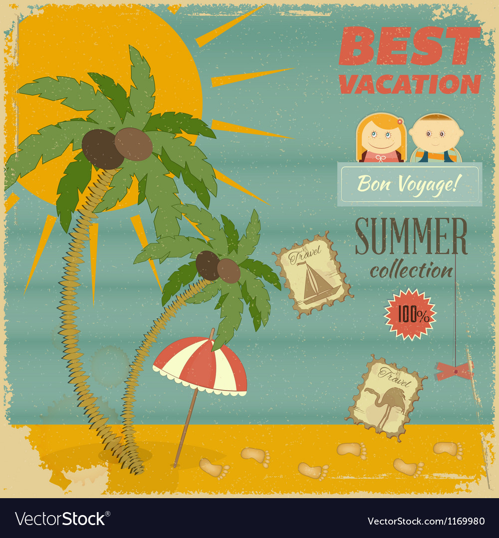 Vacation card in retro style vector | Price: 1 Credit (USD $1)