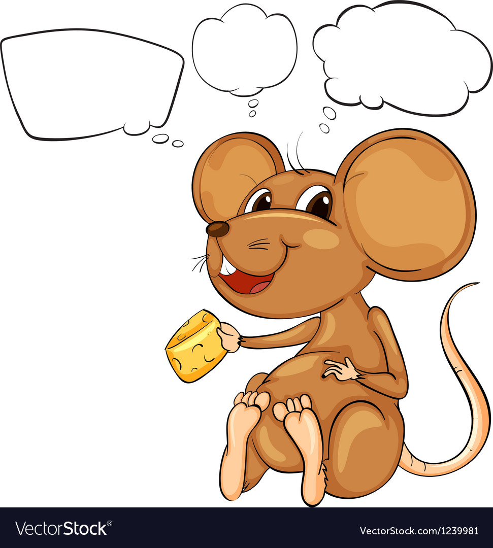 A rat holding a cheese with empty callouts vector | Price: 1 Credit (USD $1)