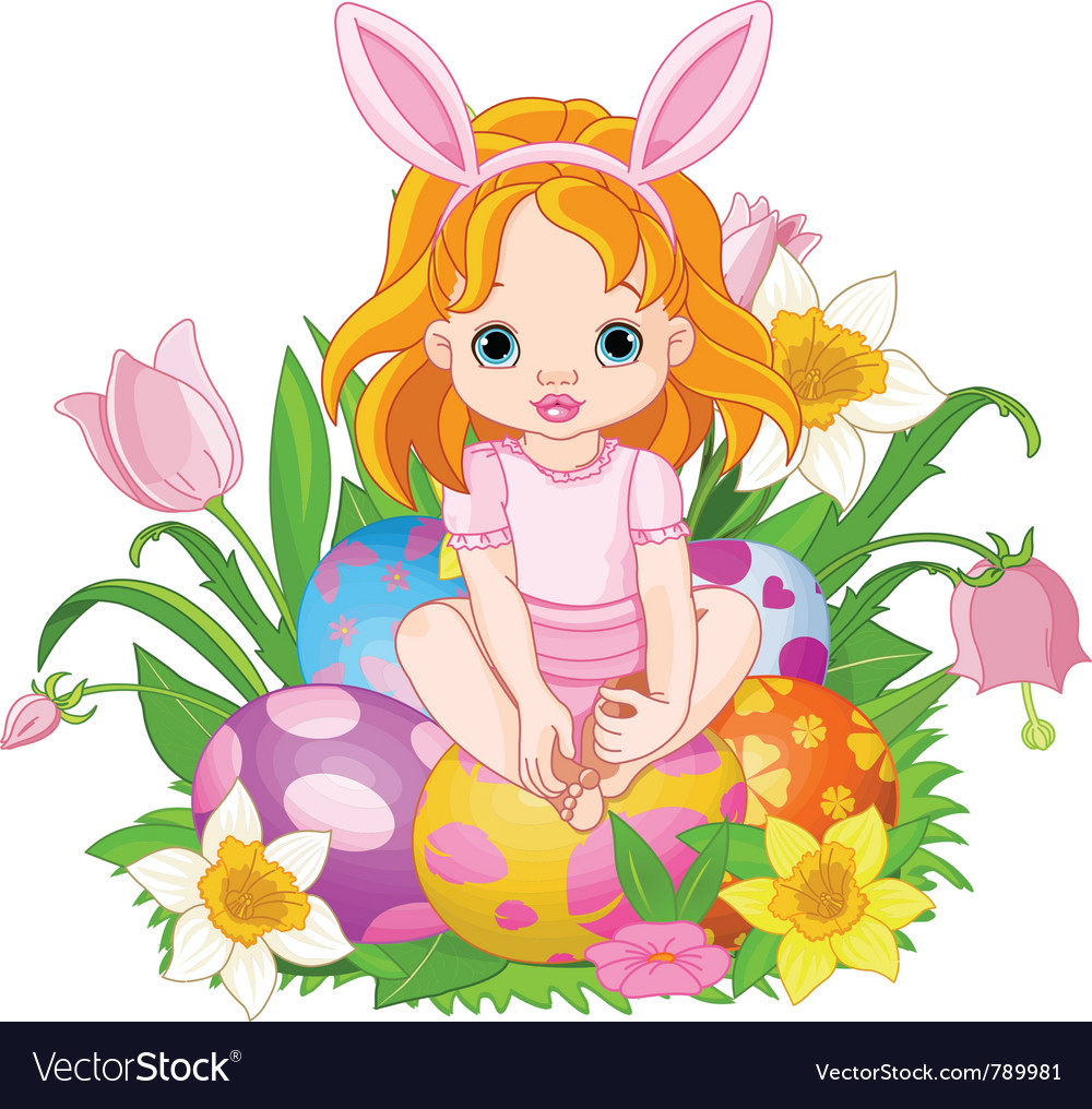 Baby girl sitting on easter eggs vector | Price: 3 Credit (USD $3)