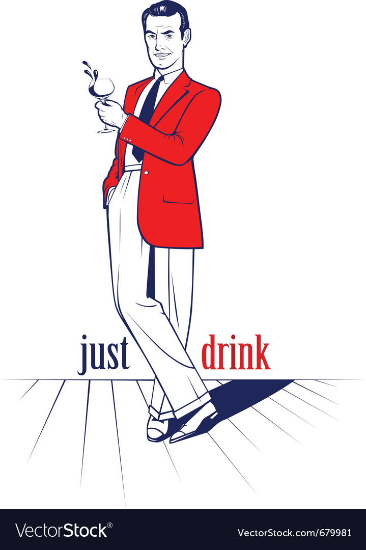 Cocktail drink man vector | Price: 3 Credit (USD $3)