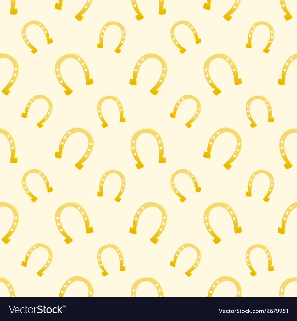 Gold seamless pattern of lucky horse shoes vector | Price: 1 Credit (USD $1)