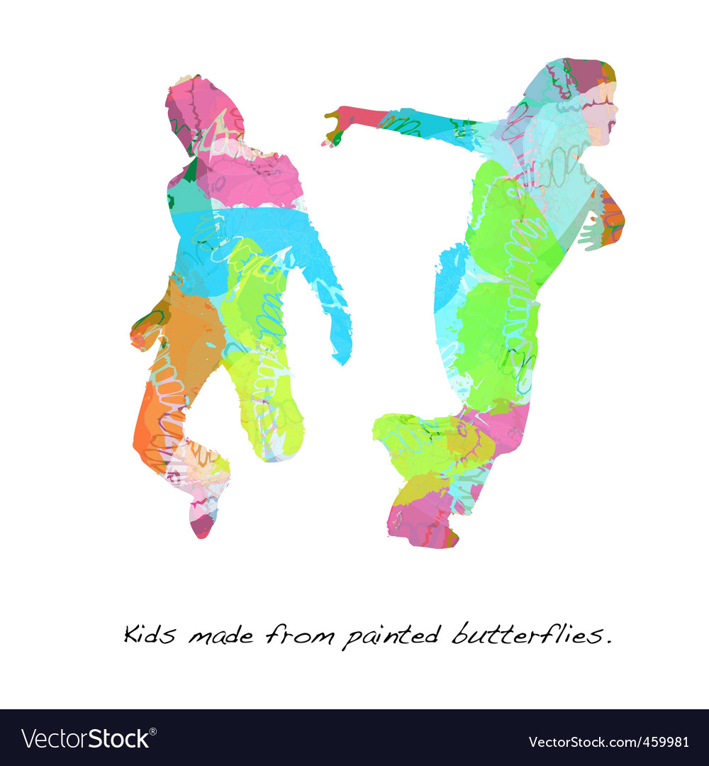 Kids butterfly paint vector | Price: 1 Credit (USD $1)