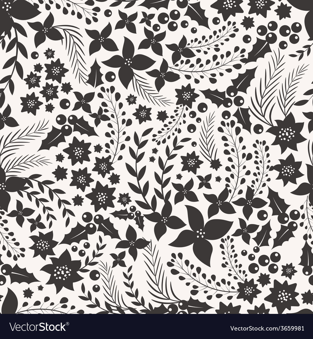 Monocrome seamless pattern with flowers vector | Price: 1 Credit (USD $1)