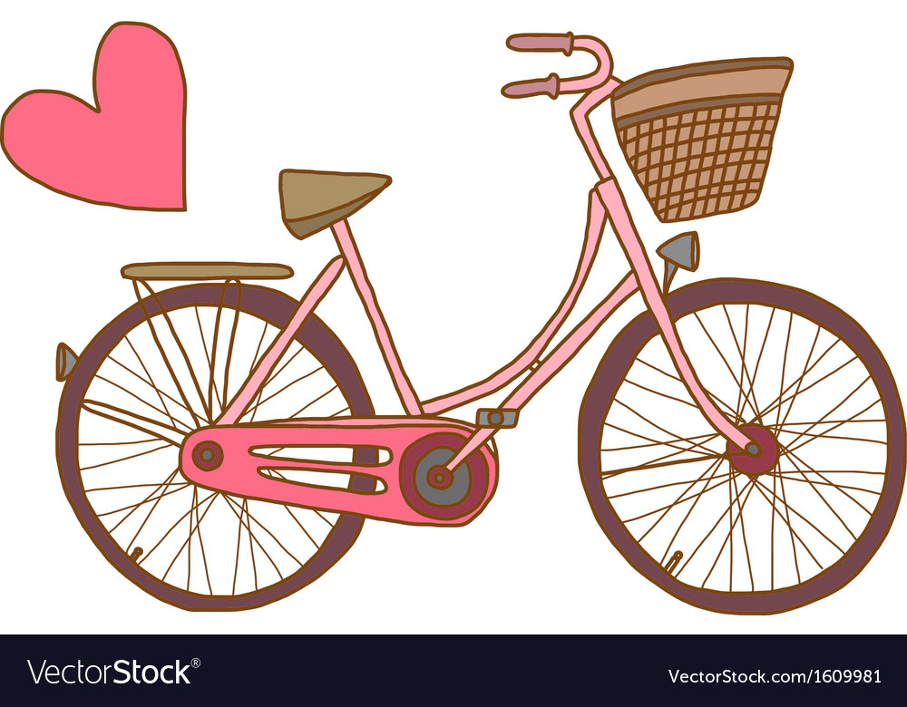Pink bicycle with heart vector | Price: 1 Credit (USD $1)