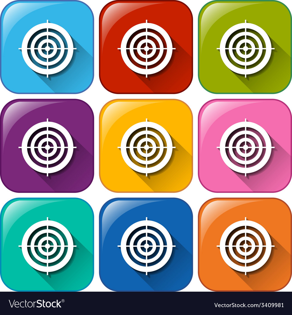 Rounded icons with target buttons vector | Price: 1 Credit (USD $1)