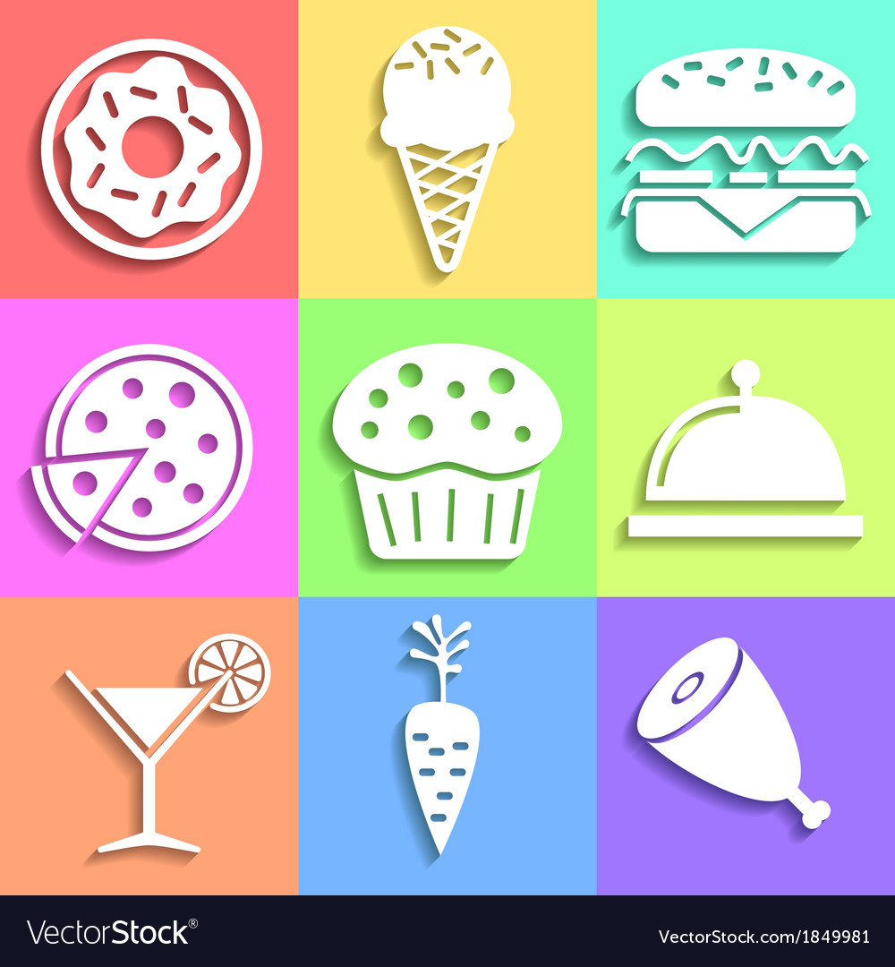 Set of flat food icons vector   Price: 1 Credit (USD $1)