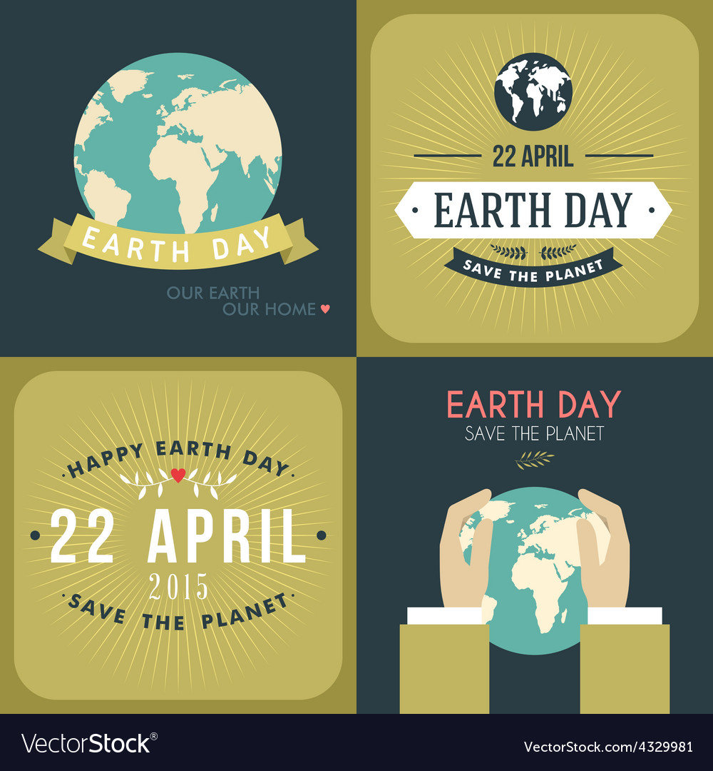 Set of vintage earth day celebrating card or vector | Price: 1 Credit (USD $1)