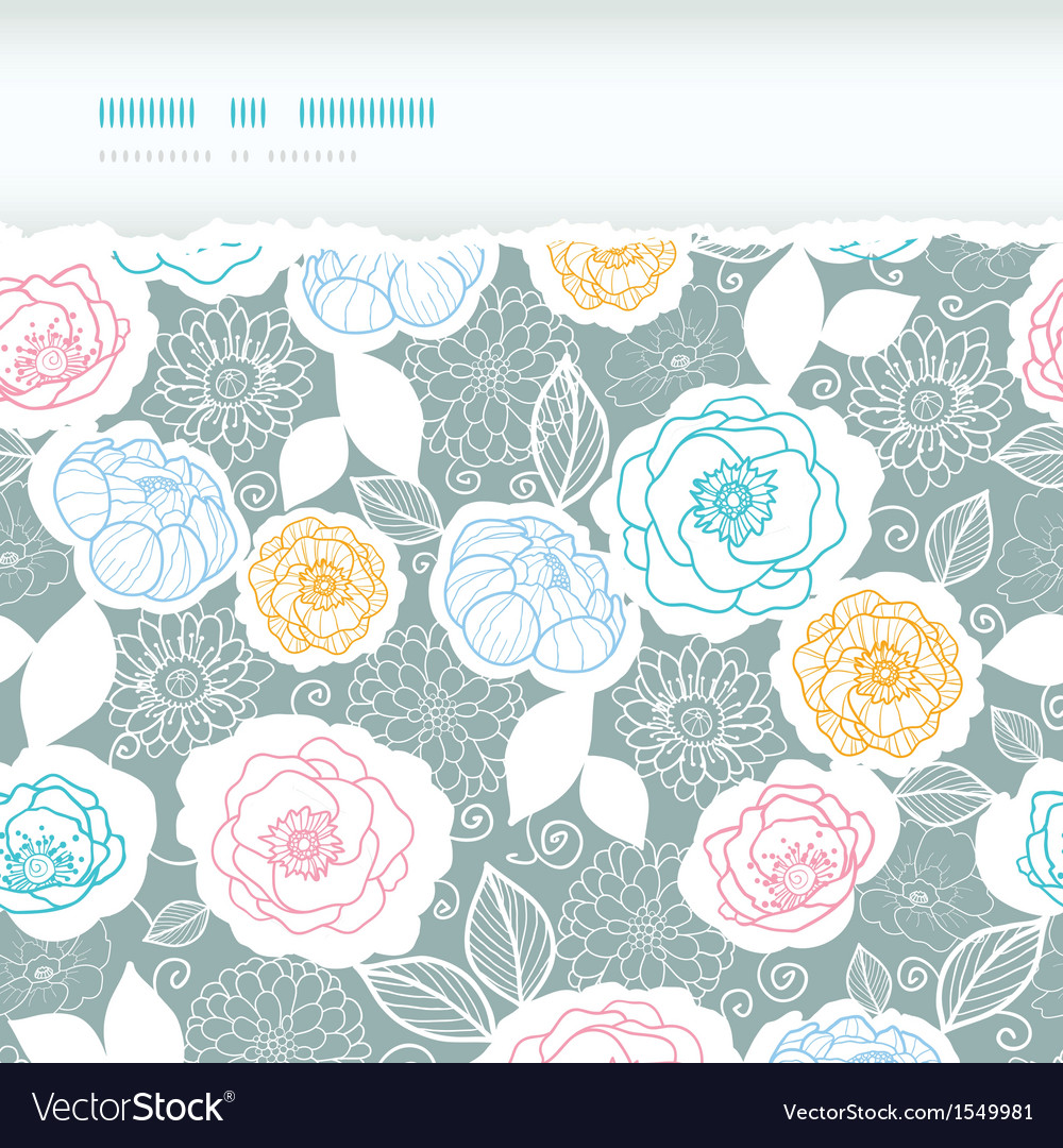 Silver and colors florals horizontal torn seamless vector | Price: 1 Credit (USD $1)