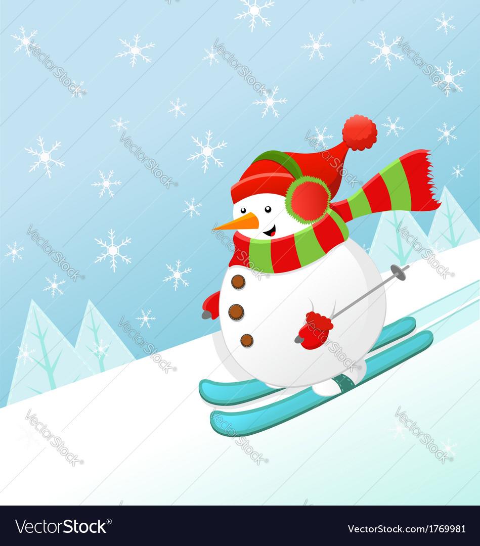 Skiing snowman vector | Price: 1 Credit (USD $1)