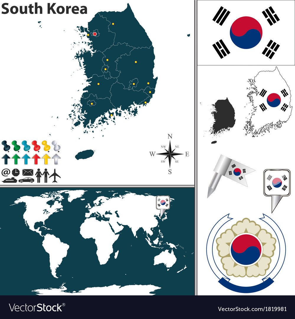 South korea map world vector | Price: 1 Credit (USD $1)
