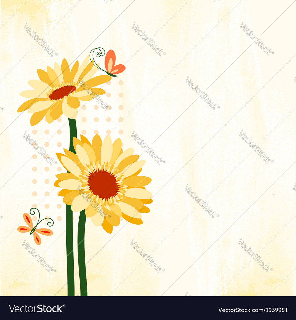 Springtime colorful daisy flower with butterfly vector | Price: 1 Credit (USD $1)