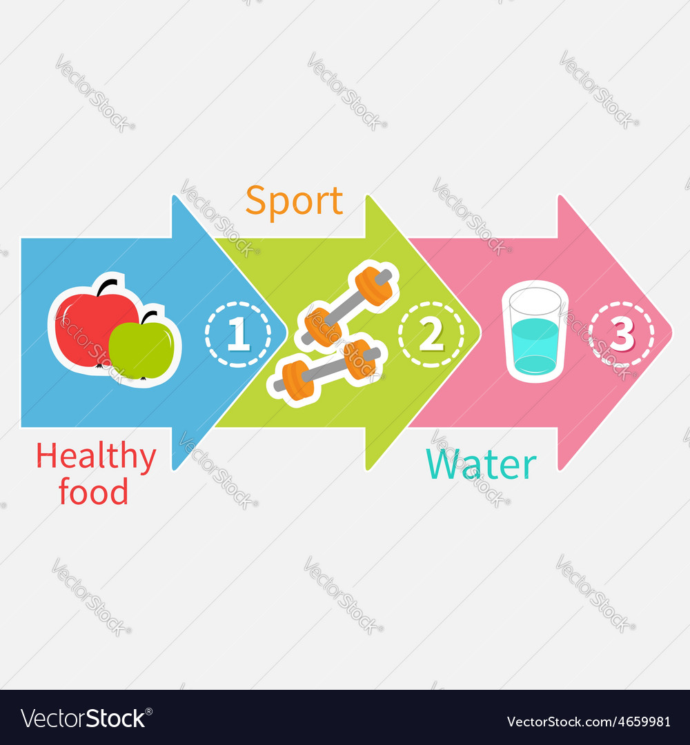 Three step weight loss infographic healthy food vector | Price: 1 Credit (USD $1)