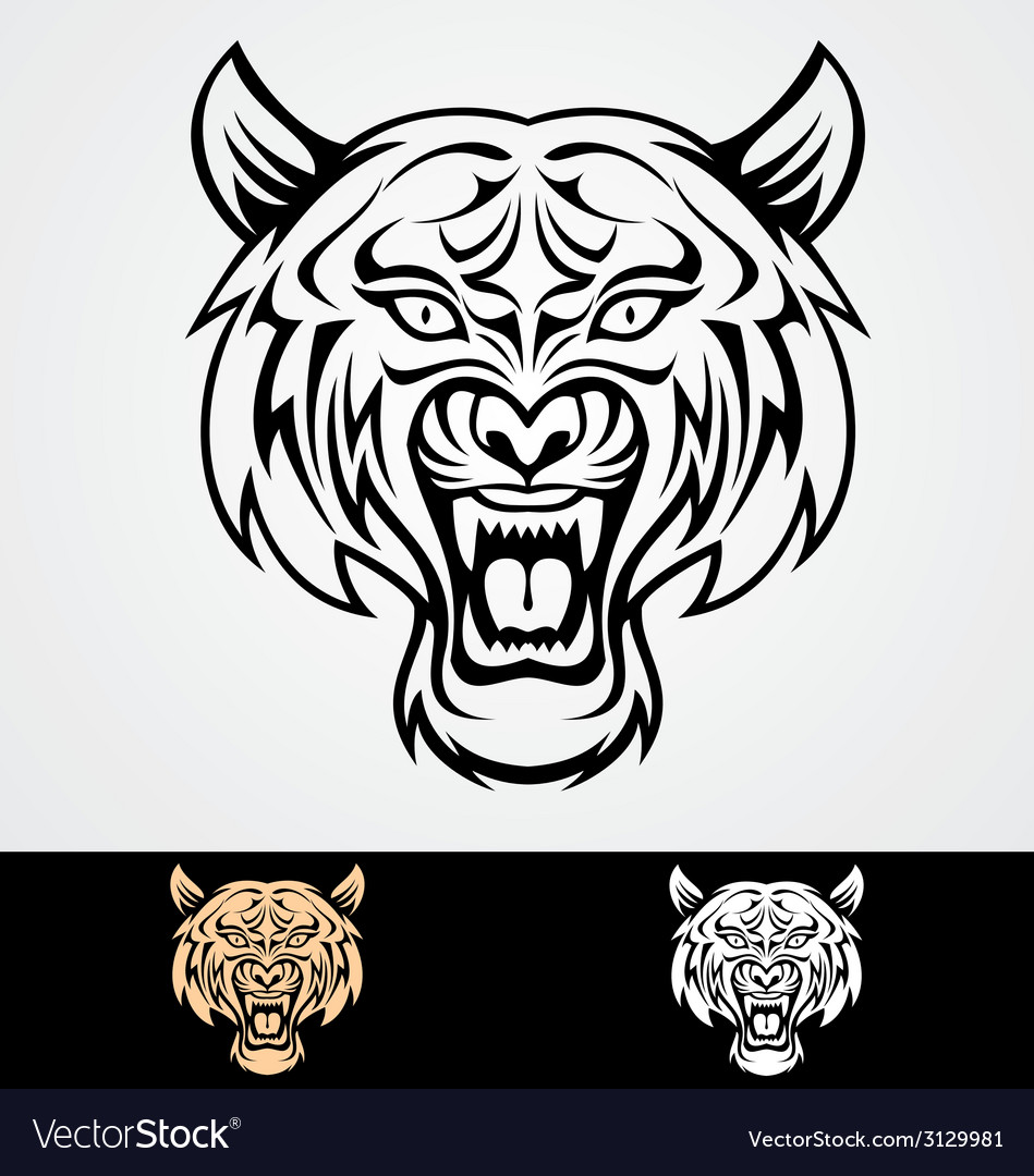 Tribal tiger head vector | Price: 1 Credit (USD $1)