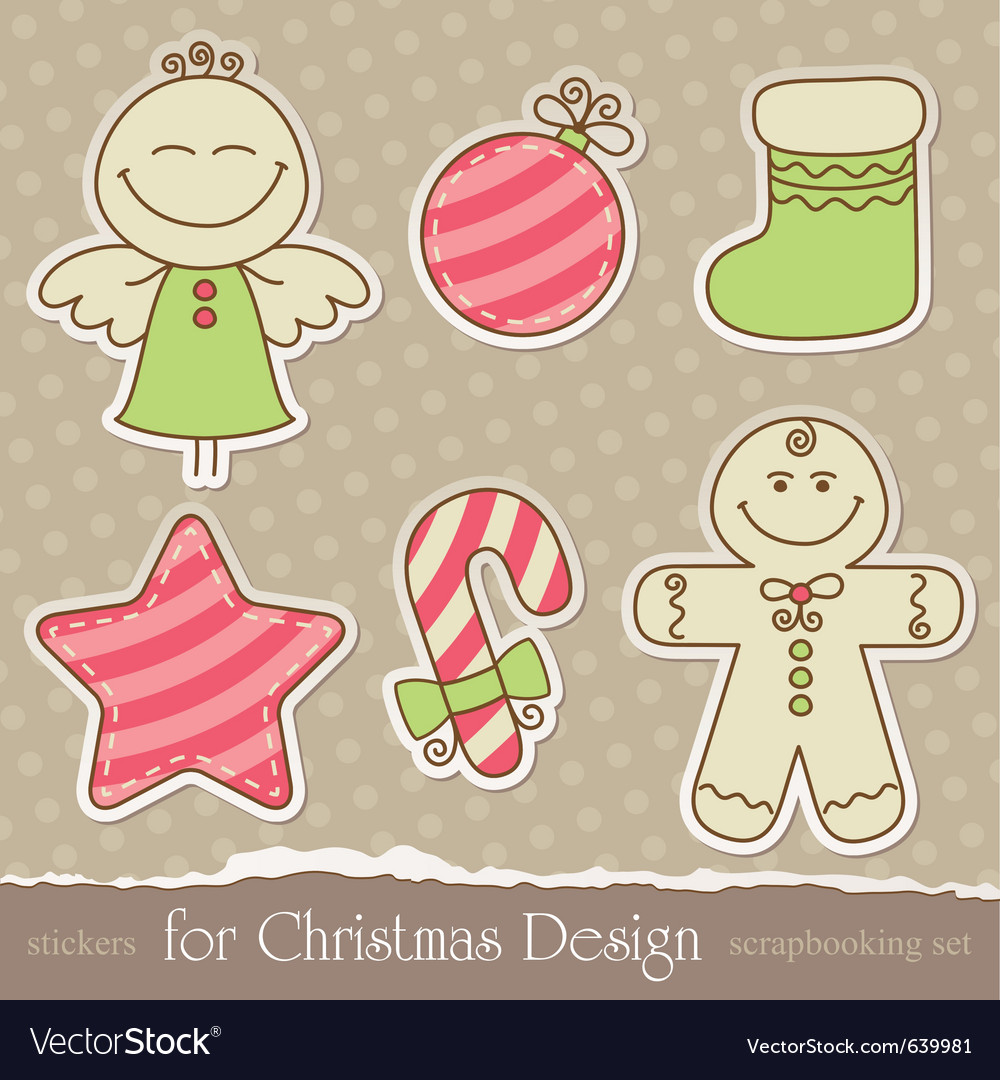 Vintage christmas scrapbook elements vector | Price: 1 Credit (USD $1)