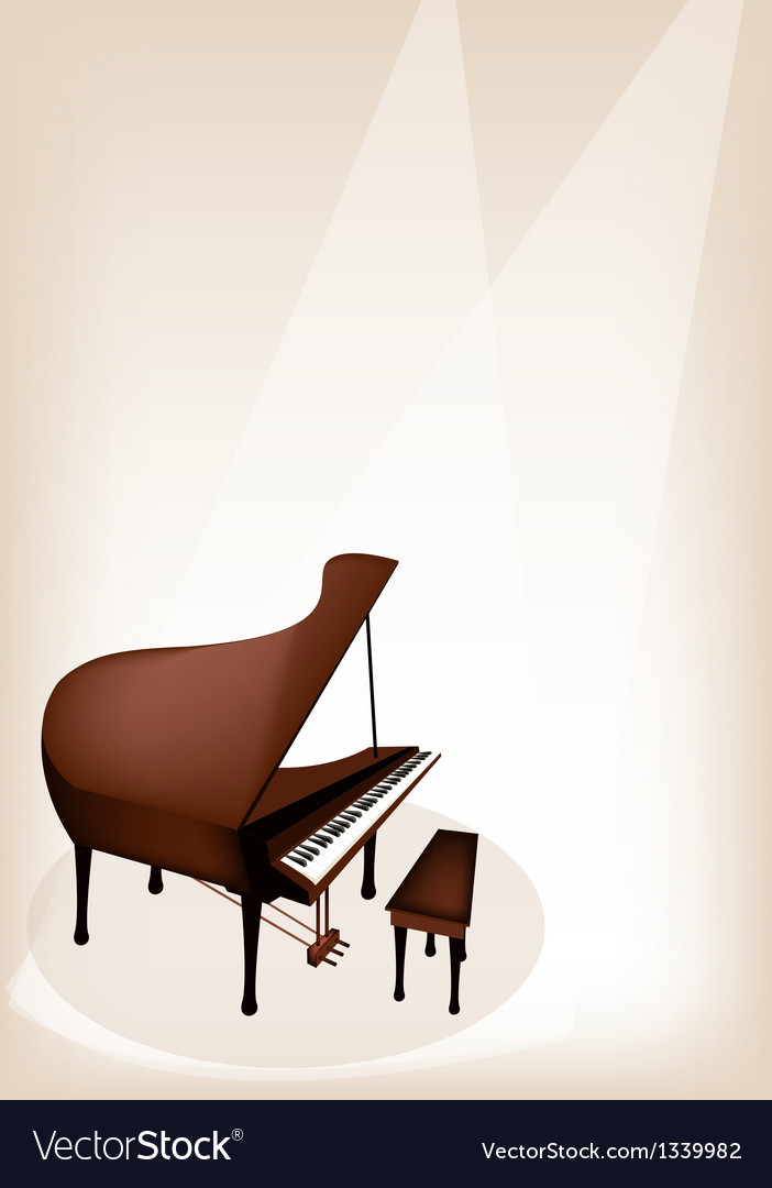 A retro grand piano on brown stage background vector | Price: 1 Credit (USD $1)