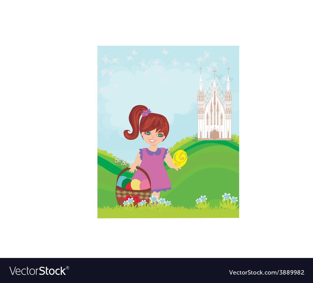 Abstract easter card with little girl and the vector | Price: 1 Credit (USD $1)