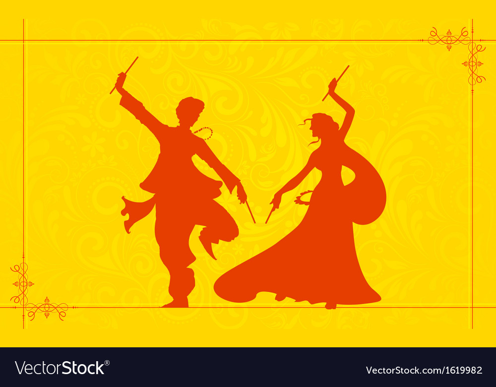 Couple playing garba vector | Price: 1 Credit (USD $1)