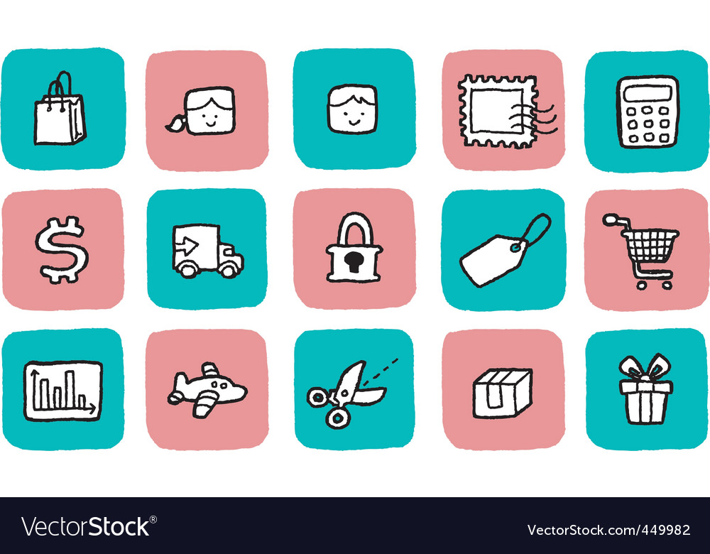 Doodle icon set  shopping vector | Price: 1 Credit (USD $1)