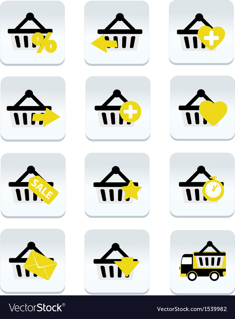 Ecommerce shopping basket flat icons set 1 vector | Price: 1 Credit (USD $1)
