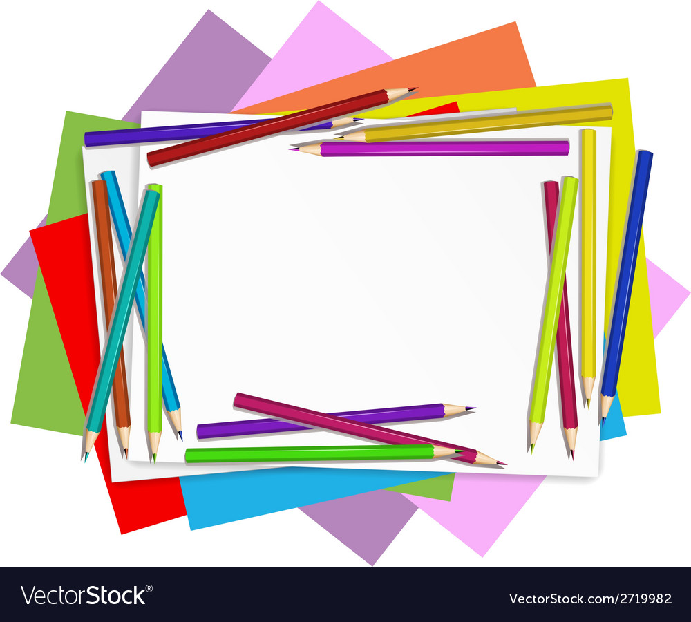 Empty papers with colourful pencils vector | Price: 1 Credit (USD $1)