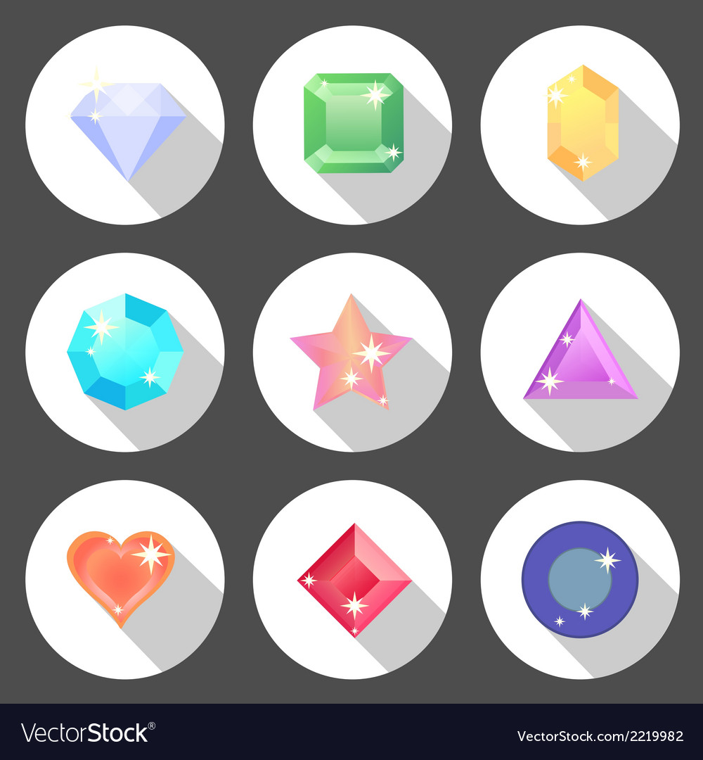 Gem stone flat color icons with long shadow vector | Price: 1 Credit (USD $1)
