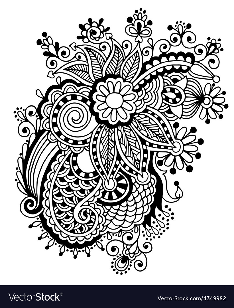 Hand draw black and white line art ornate flower vector | Price: 1 Credit (USD $1)