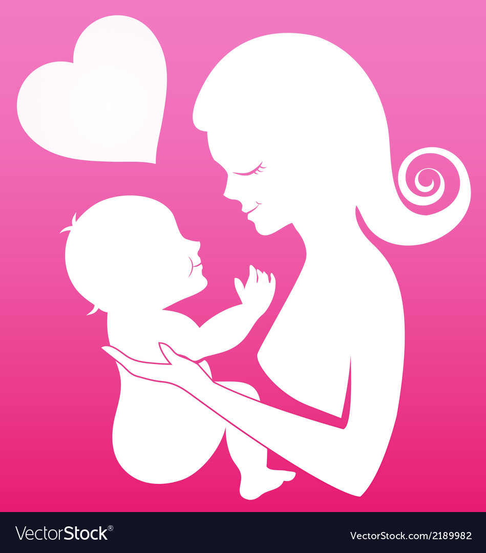 Mother carrying her child on pink background vector | Price: 1 Credit (USD $1)