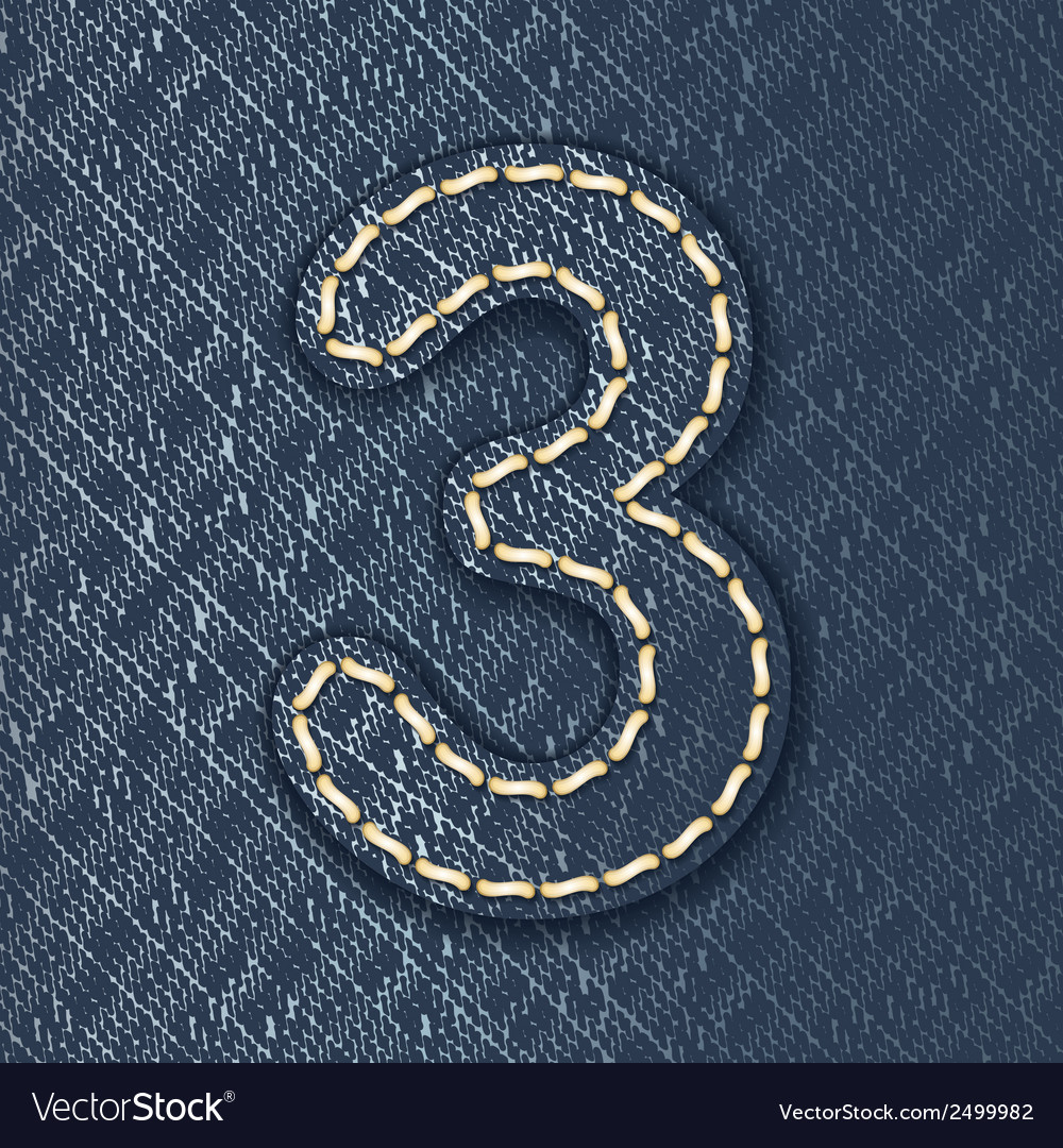 Number 3 made from jeans fabric vector | Price: 1 Credit (USD $1)