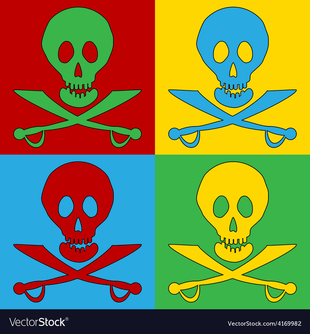 Pop art jolly roger icons vector | Price: 1 Credit (USD $1)