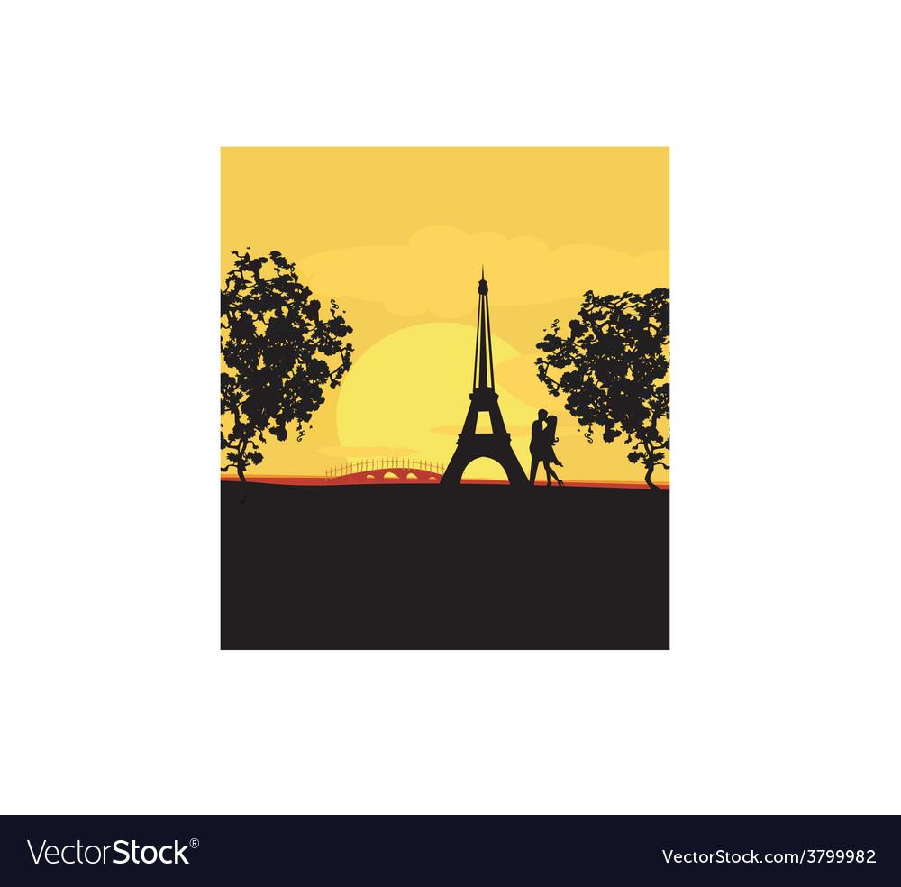 Romantic couple in paris kissing near the eiffel vector | Price: 1 Credit (USD $1)
