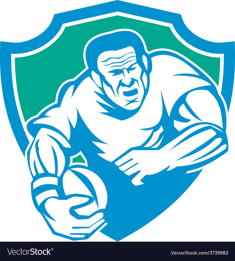 Rugby player running ball shield linocut vector | Price: 1 Credit (USD $1)
