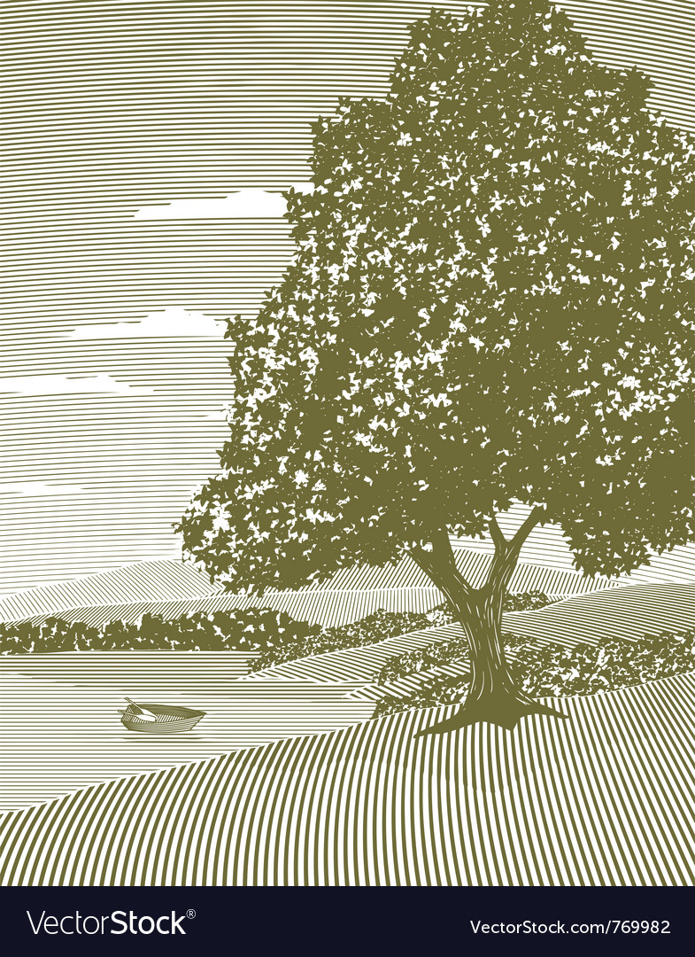 Woodcut lake landscape vector | Price: 1 Credit (USD $1)